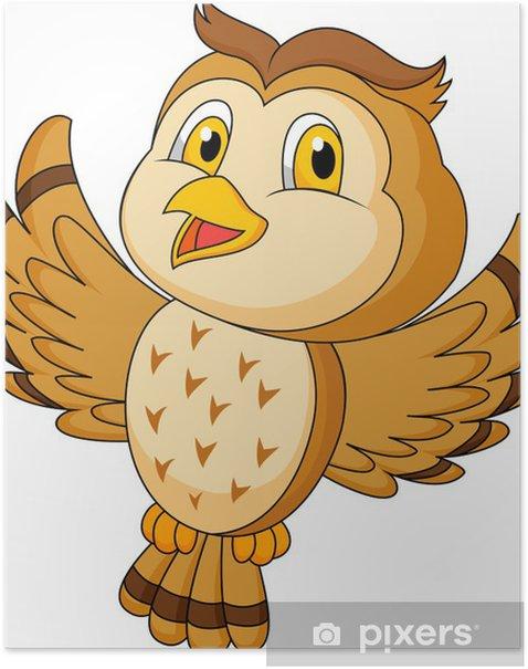 Poster CVute gufo cartoon battenti - Uccelli