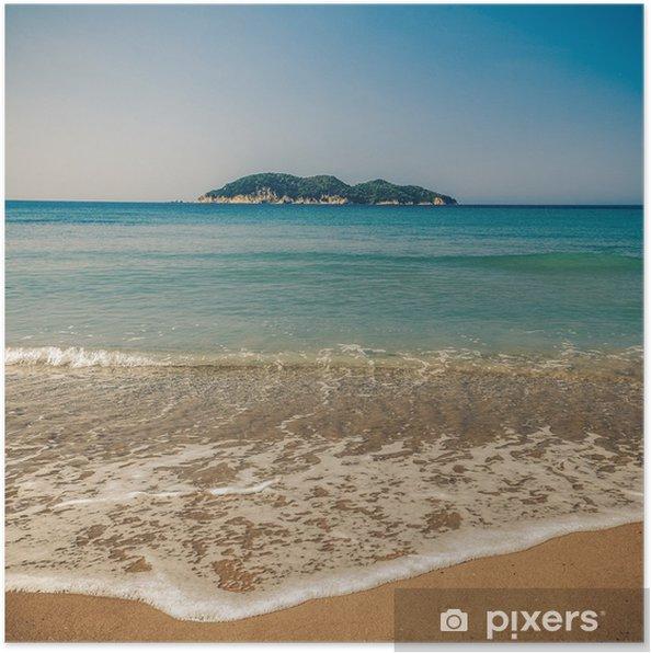 Poster Dafni Strand Insel Zakynthos Vintage Untersetzer Pixers