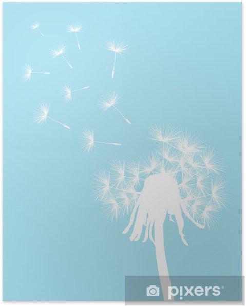 Poster Dente Di Leone Bianco Su Sfondo Azzurro Pixers Viviamo