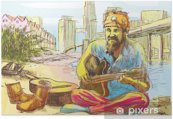 Poster Der bärtige Hippie Mann an der Gitarre (Zeichnung in Vektor) - Musik