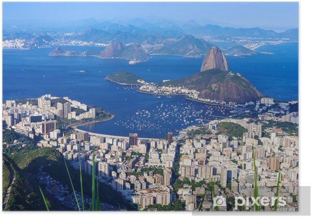 Poster Der Berg Zuckerhut und Botafogo in Rio de Janeiro - Brasilien