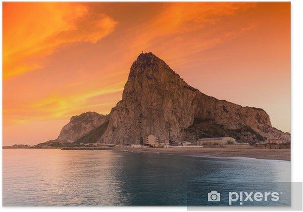 Poster Der Felsen von Gibraltar von der Bucht-Seite gesehen - Europa