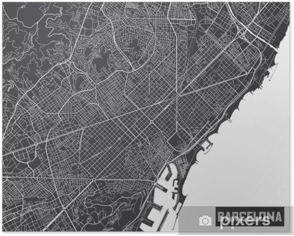 Cartina Barcellona Dettagliata.Poster Design Minimalista Del Manifesto Della Mappa Della Citta Di Barcellona Pixers Viviamo Per Il Cambiamento