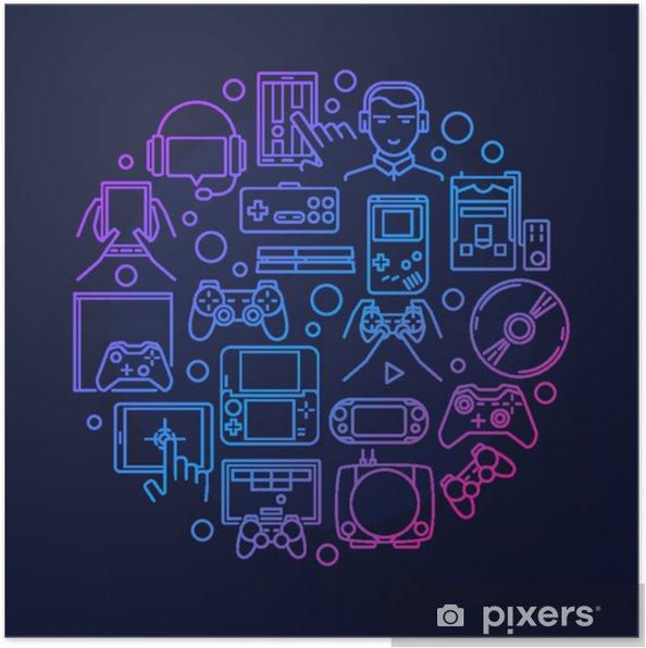 Poster Design rotondo di videogiochi - Risorse Grafiche