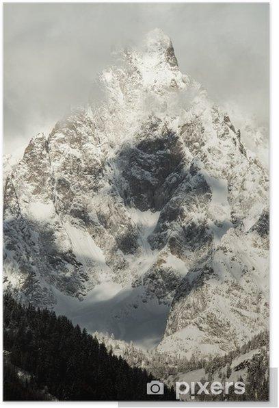 Poster Detail-Massiv Mont Blanc zu sehen von Courmayeur - Jahreszeiten