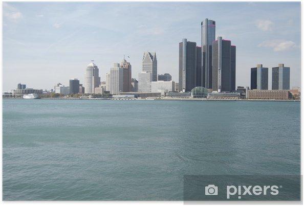 Poster Detroit-Skyline - Amerika