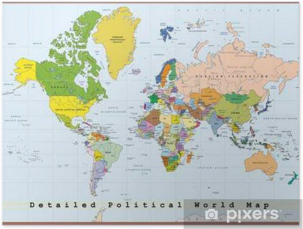 Cartina Del Mondo Politico.Poster Dettagliata Mappa Del Mondo Politico