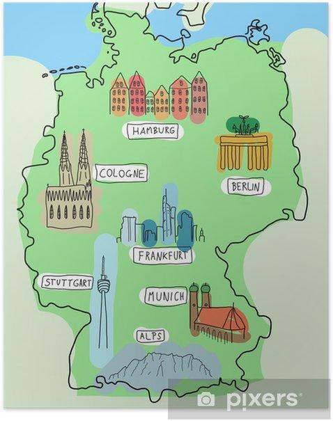 Poster Deutschland Karte Mit Sehenswurdigkeiten Pixers Wir