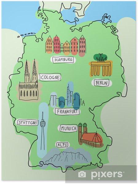 Poster Deutschland-Karte mit Sehenswürdigkeiten • Pixers