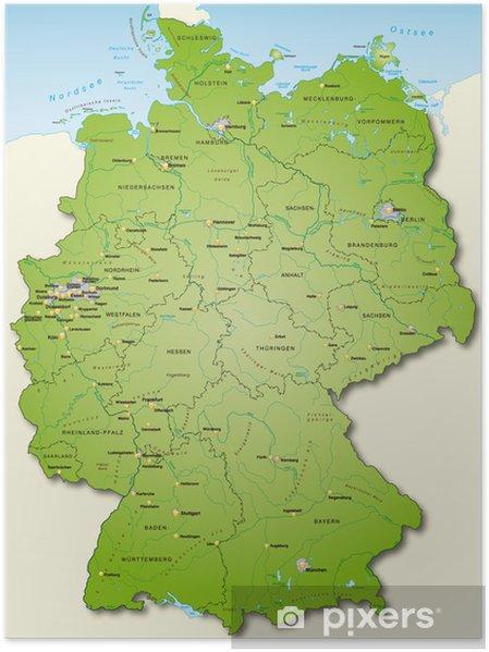 Poster Deutschland Übersichtskarte grün 40cm x 52cm - Themen