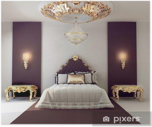 Poster Di lusso camera da letto matrimoniale con mobili d\'oro in royal  interni