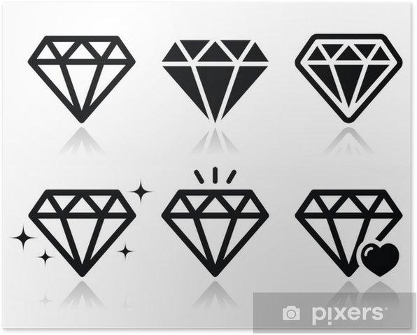 Poster Diamant-Vektor-Icons gesetzt - Zeichen und Symbole