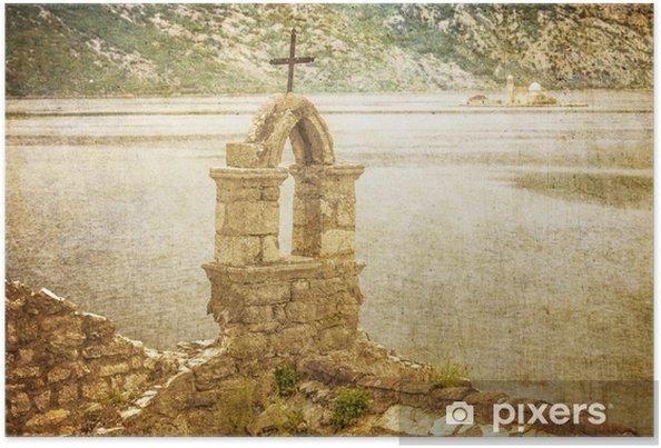 Poster Die alte Kirche mit Blick auf das Meer bei schlechtem Wetter - Europa