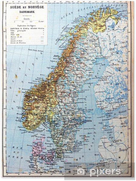 Karte Norwegen Dänemark.Poster Die Karte Von Schweden Norwegen Und Dänemark