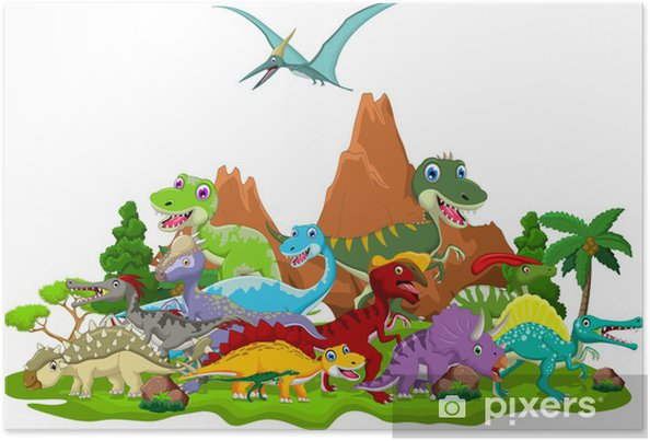 Poster Dinosaurier Cartoon Mit Landschaftshintergrund