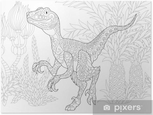 Poster Dinosauro Stilizzato Del Velociraptor Del Periodo Tardo
