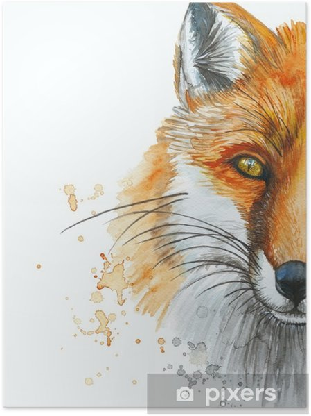 Poster Dipinto Con Un Disegno Ad Acquerello Di Una Volpe Rossa La