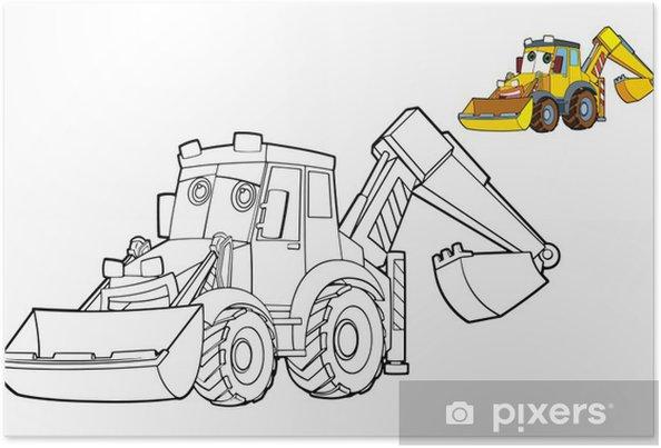 Disegni Da Colorare Per Bambini Escavatori.Poster Disegno Da Colorare Escavatore Illustrazione Per I Bambini