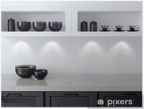 Poster Disegno della cucina bianca e nera.