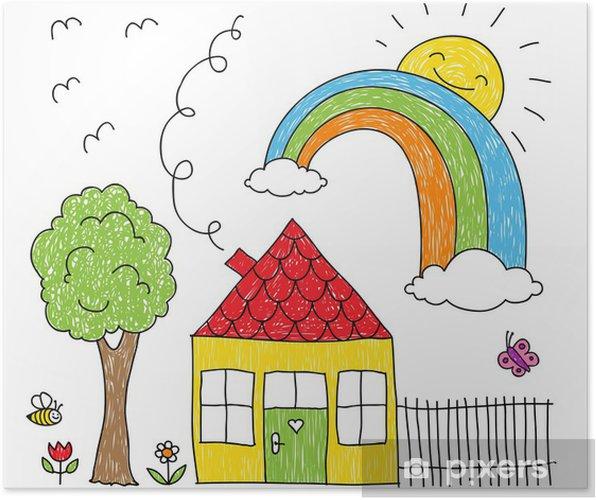 Poster Disegno Di Kid Di Una Casa Arcobaleno E Albero Pixers