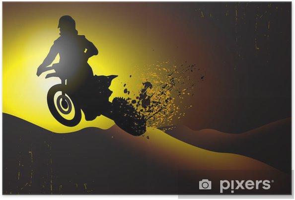 Poster Disegno Di Sfondo Di Motocross Con Elementi Grunge
