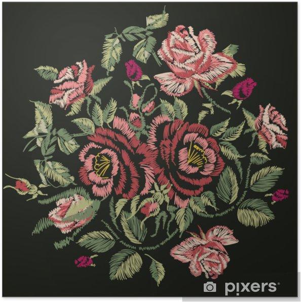 Poster Disegno Ricamato Di Rose Rosse Illustrazione Vettoriale Eps