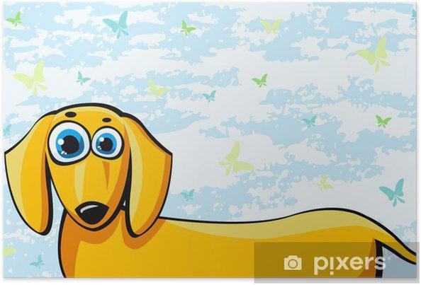 Poster divertente cartone animato cane bassotto u2022 pixers® viviamo