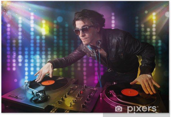 Poster Dj riproduzione di brani in una discoteca con spettacolo di luci - Divertimento