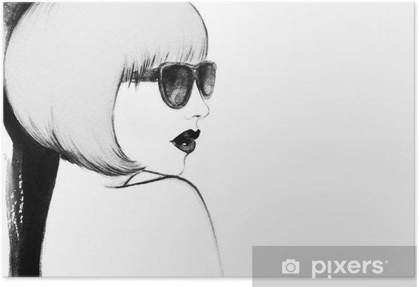 Poster Donna con gli occhiali. acquarello illustrazione - Persone