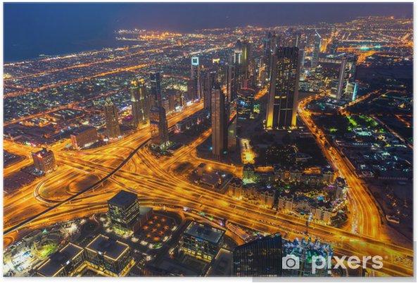 Poster Dubai Skyline in der Abenddämmerung - Asien