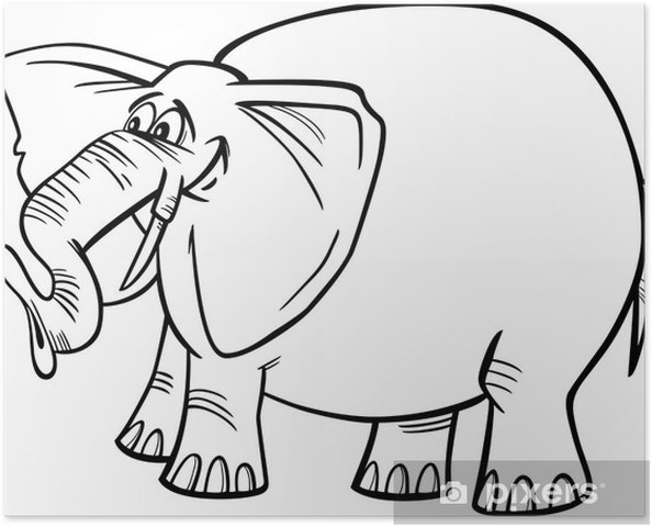 Poster Elefant Cartoon zum Ausmalen - Wandtattoo