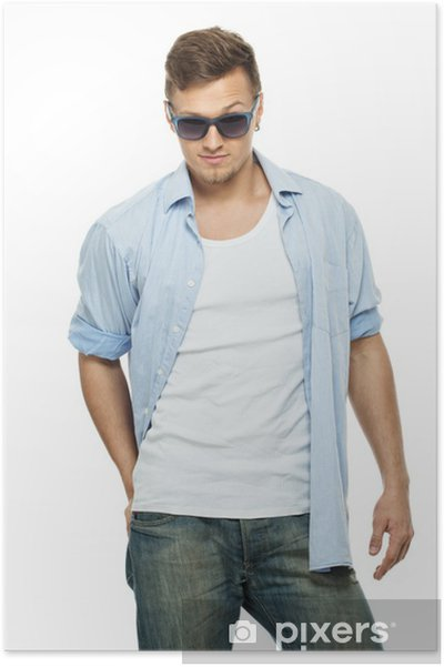 all'avanguardia dei tempi design innovativo eccezionale gamma di stili Poster Elegante uomo in camicia blu e jeans