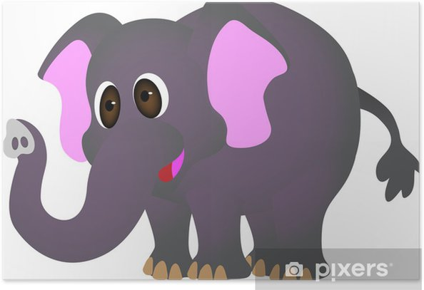 Poster Elephant cartoon - Wandtattoo