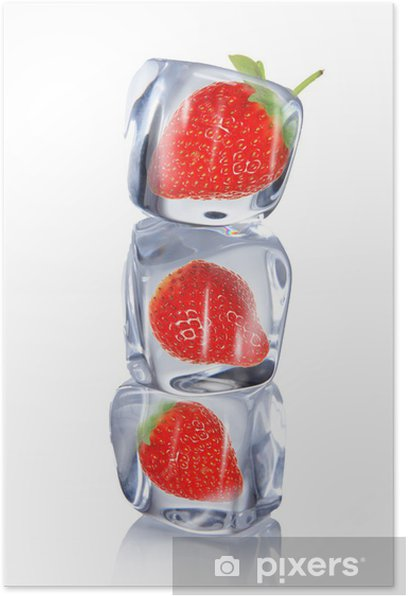 Poster Erdbeere im Eiswürfel - Erdbeeren