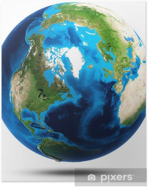 Poster Erde echte Bergrelief - Weltall