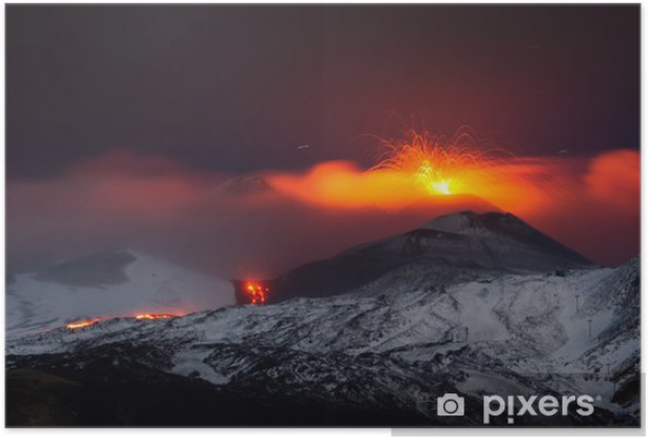 Poster Eruzione Etna 2013 - Disastri naturali