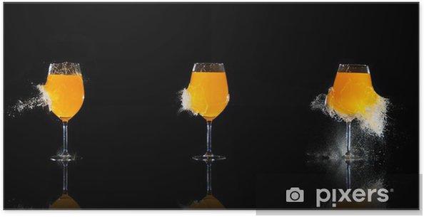 Poster Explodierte Gläser mit Orangensaft - Gerichte