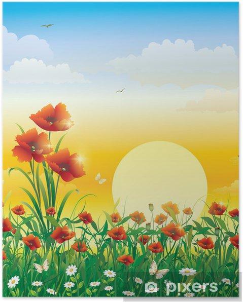 Poster Feld mit Blumen auf einem Hintergrund von Solarmorgengrauen - Themen