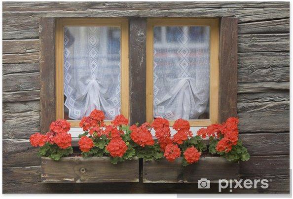 Poster Fenster mit Blumenkasten