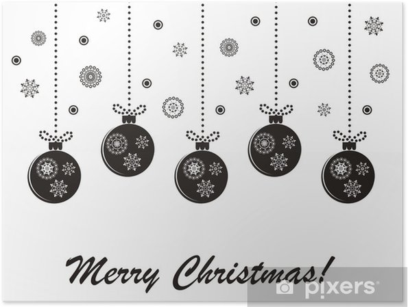 Weihnachten Schwarz Weiß Bilder.Poster Ferien Weihnachten Schwarz Weiß Vektor Karte Mit Hängenden Kugeln