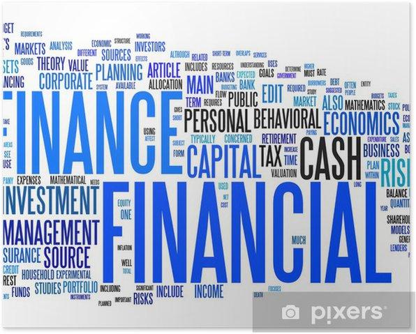 Poster Finanz Text Wolke - Zeichen und Symbole