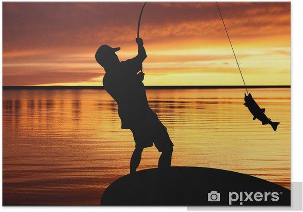 Poster Fischer mit Fanggerät und Fang von Fischen bei Sonnenaufgang - Freiluftsport