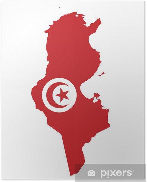 Tunesien Karte Welt.Poster Flagge Der Republik Tunesien