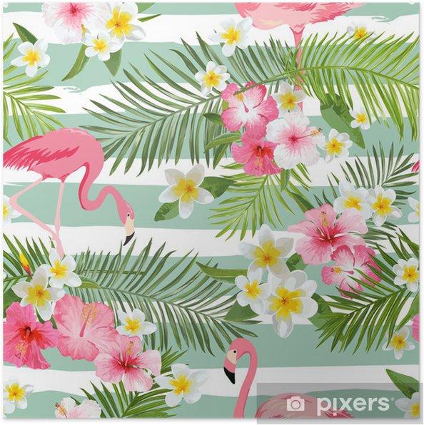 Poster Flamingo Sfondo Tropical Sfondo Fiori Vintage Seamless