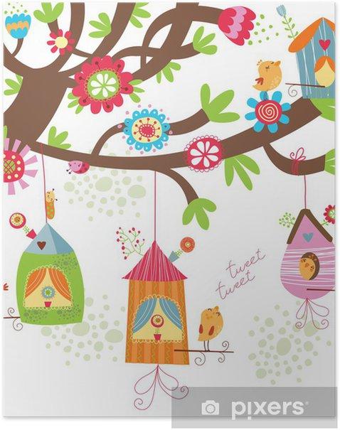 Poster Floral background mit Vögeln - Bereich