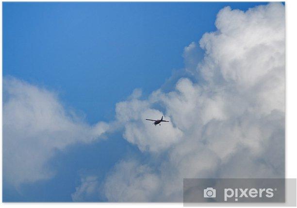 Poster Flugzeug am Wolkenhimmel - Himmel
