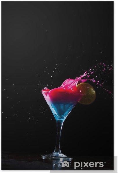 Poster Frische Milch Cocktail Spritzwasser - Alkohol