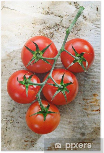 Poster Frische Tomaten auf zerknittertes Papier - Themen