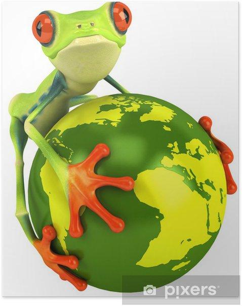 Poster Frosch und dem Planeten Erde - Zeichen und Symbole