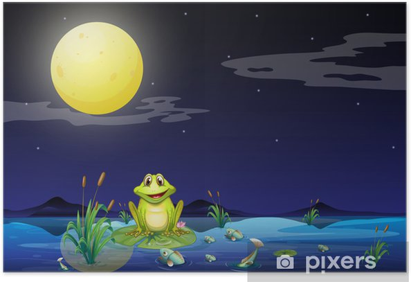 Poster Frosch und Fische in dem See unter dem hellen Vollmond - Für Kindergartenkind